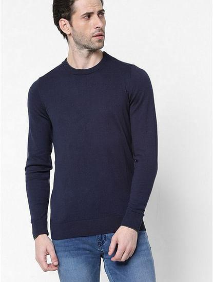 Men's Janni solid crew neck navy blue sweatshirt