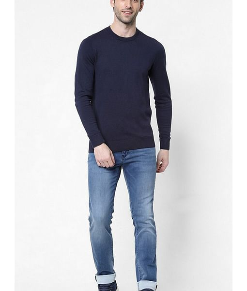 Men's Janni solid crew neck navy blue sweatshirt