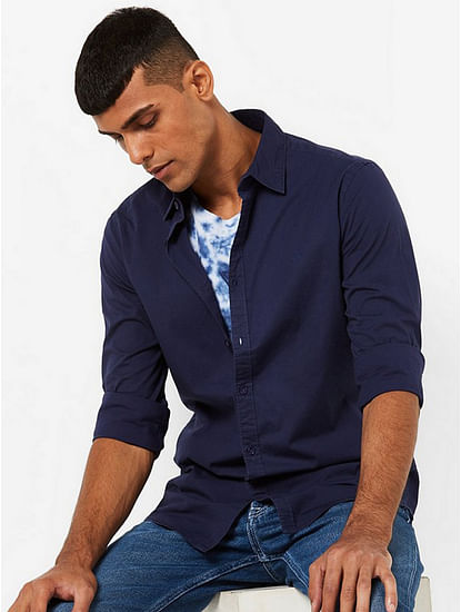 Men's Andrew solid navy blue shirt