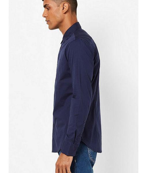 Men's Andrew solid navy blue shirt