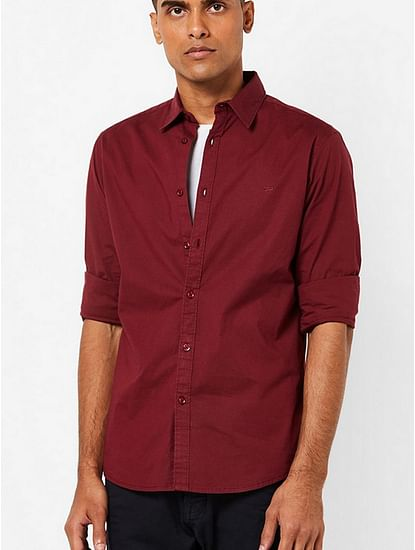 Men's Andrew solid maroon shirt
