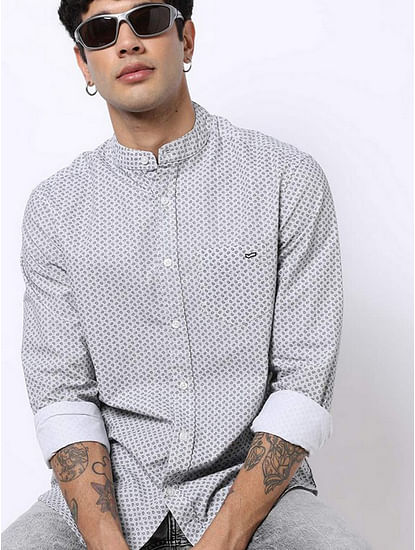 Men's Dyami S printed white shirt