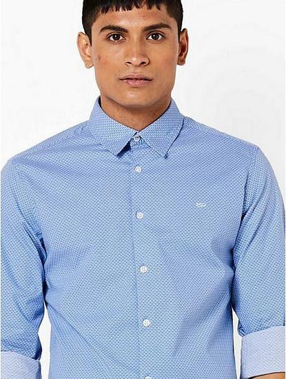 Men's Sir Det all over printed light blue shirt