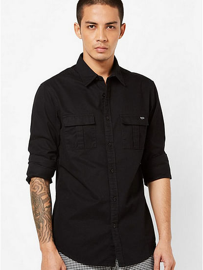 Men's Abner solid black shirt