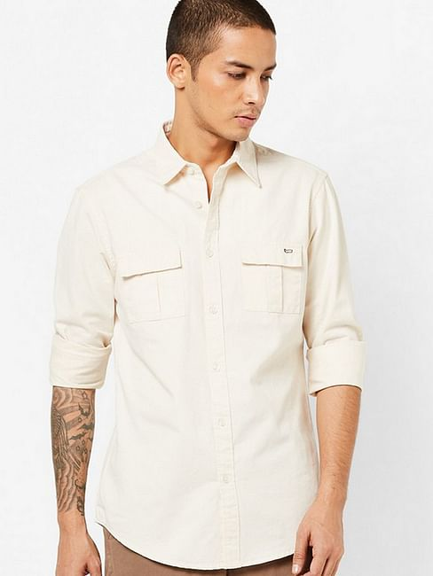 Men's Abner solid beige shirt