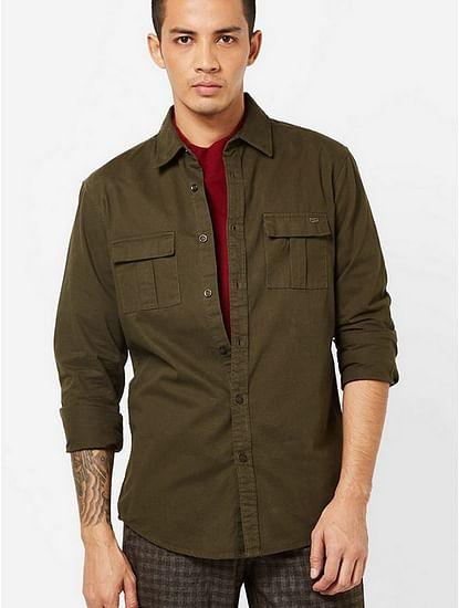 Men's Abner solid green shirt