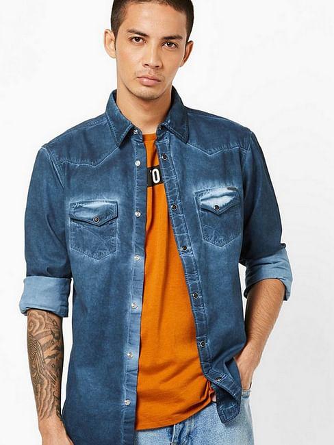 Men's Kant heavily washed navy blue shirt