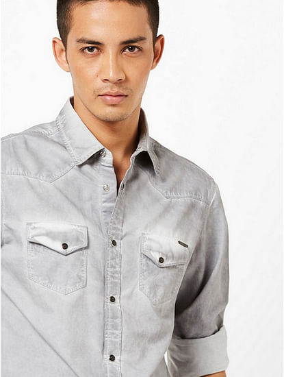 Men's Kant heavily washed grey shirt