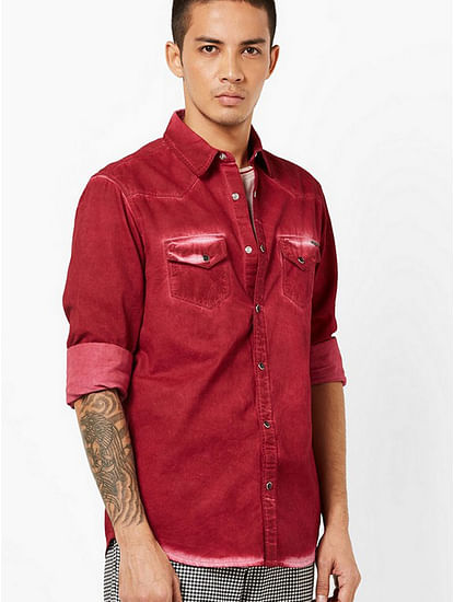 Men's Kant heavily washed maroon shirt