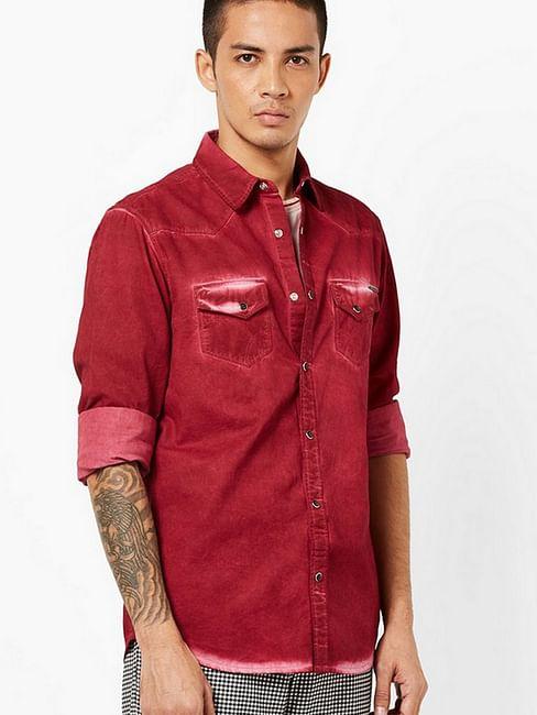 Men's Kant heavily washed maroon shirt