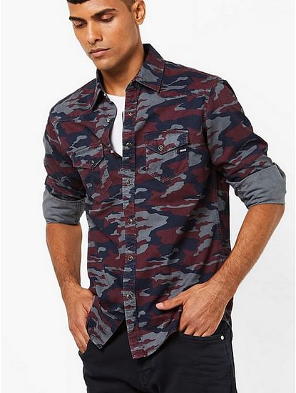 Kant Camouflage Print Slim Fit Shirt