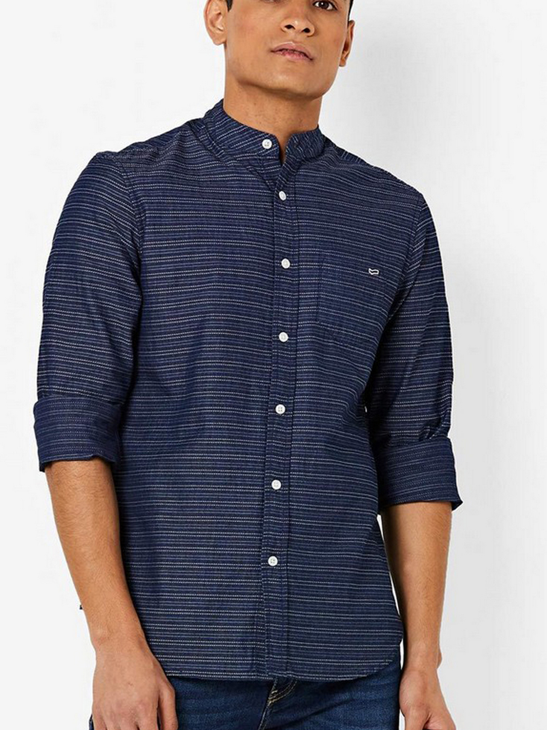 Men's Dyami S navy blue jacquard stripes shirt