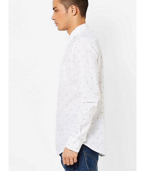 Men's Flix SS white self design shirt
