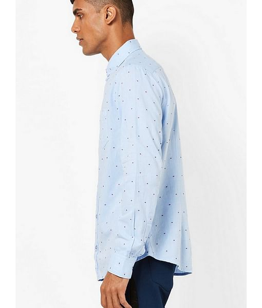 Men's Flix SS blue self design shirt