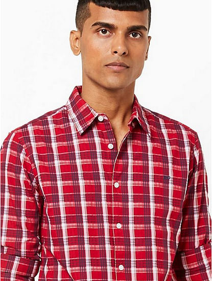 Checked Slim Fit Shirt with Spread Collar
