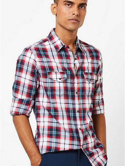 Men's Kant SS navy blue checks shirt