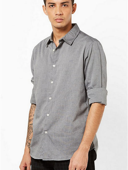 Men's Sir Det solid oxford grey shirt
