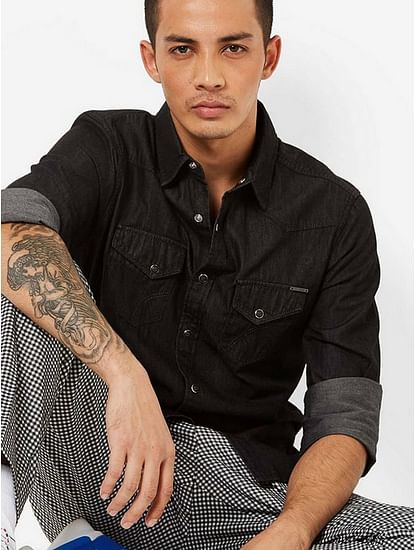 Men's Kant solid black denim shirt