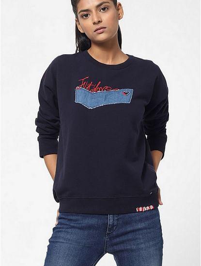 Women's regular fit round neck full sleeves Bexi logo sweatshirt