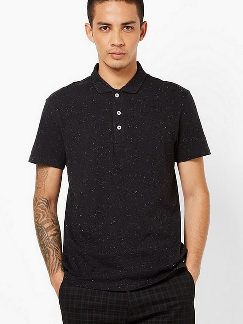 Speckled Slim Fit Polo T-shirt with Step Hem