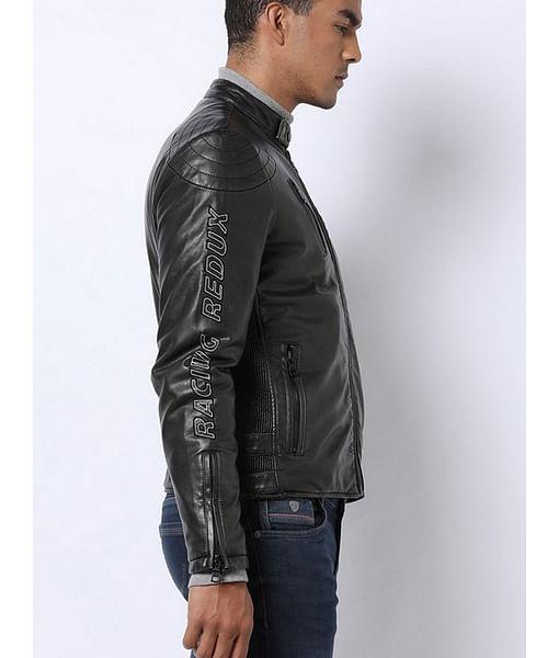 Biker Jacket with Zipped Insert Pockets