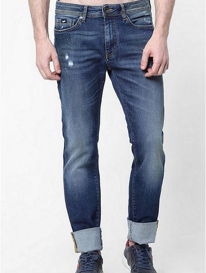 Men's Albert Simple Slim Fit Blue Distressed Jeans
