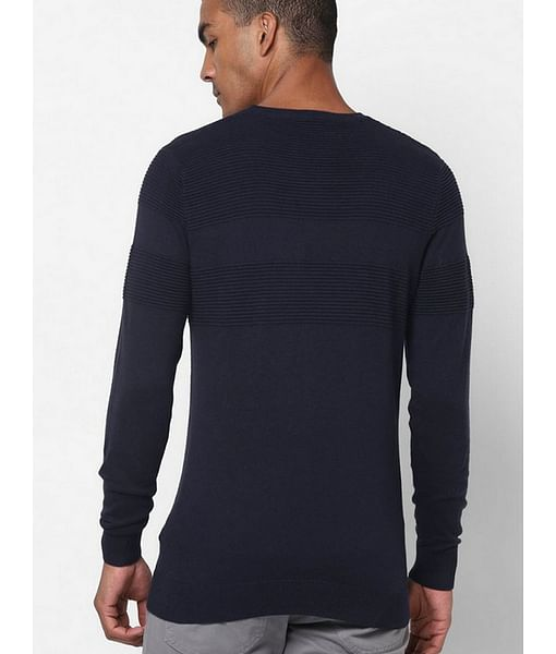 Men's Evald self striped crew neck navy blue sweatshirt