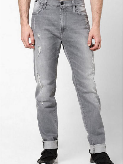 Men's Miles Straight Fit Grey Distressed Jeans