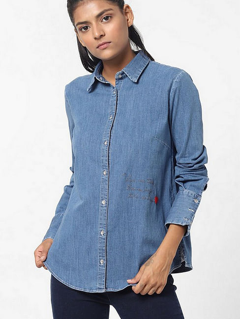 Women's regular fit collared full sleeves Maribel X song shirt