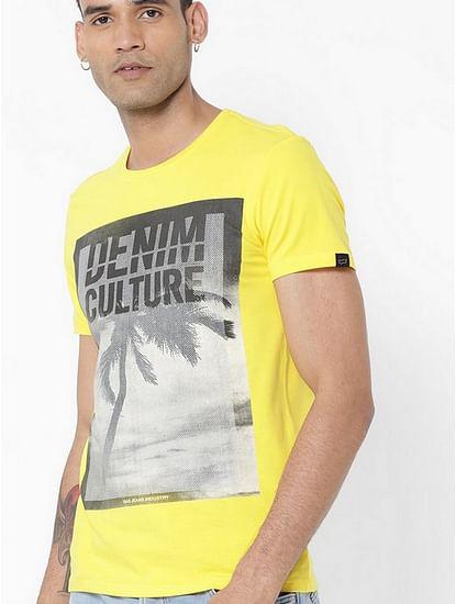 Men's Jahn/s printed round neck yellow t-shirt