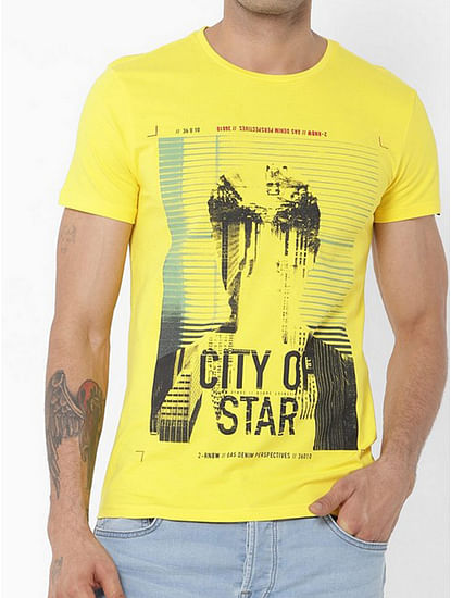Men's Scuba/s printed round neck yellow t-shirt