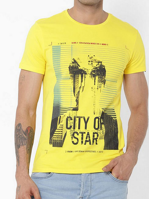 Men's Scuba/s printed round neck yellow t-shirt