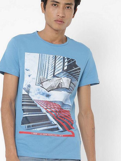 Men's Scuba/s sky printed round neck blue t-shirt