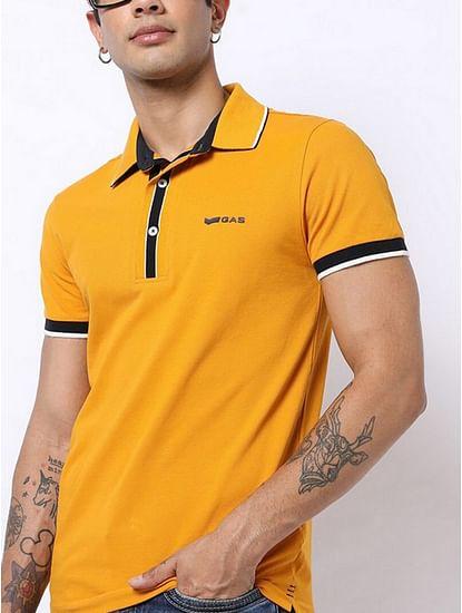 Men's Agap/s solid mustard polo t-shirt