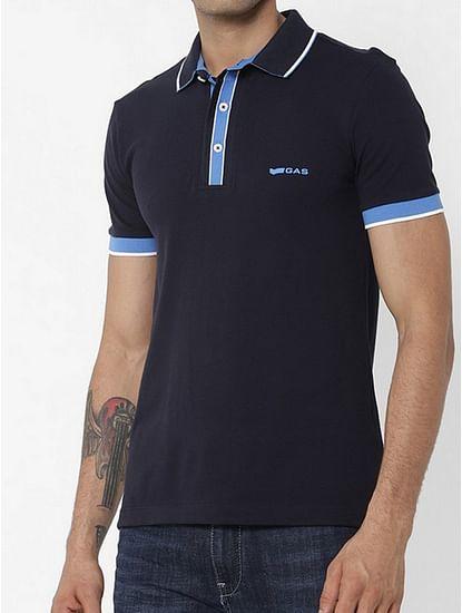 Men's Agap/s solid blue polo t-shirt