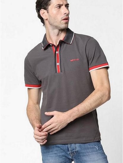 Men's Agap/s solid grey polo t-shirt
