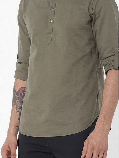 Men's Yonn solid green shirt