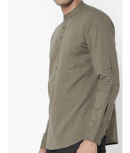 Men's Yonn solid green shirt