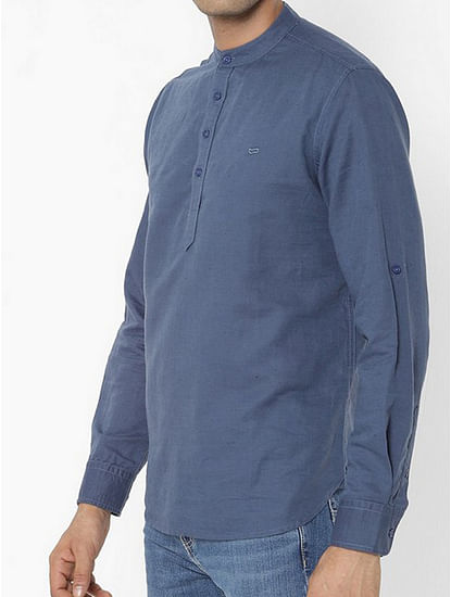 Men's Yonn solid blue shirt