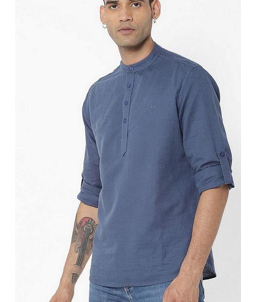 Men's Yonn solid blue shirt