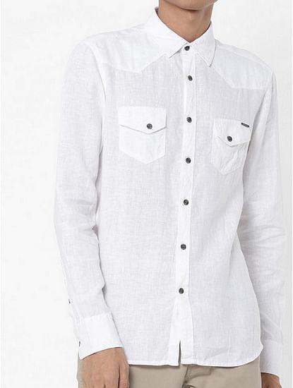 Men's Kant solid white shirt