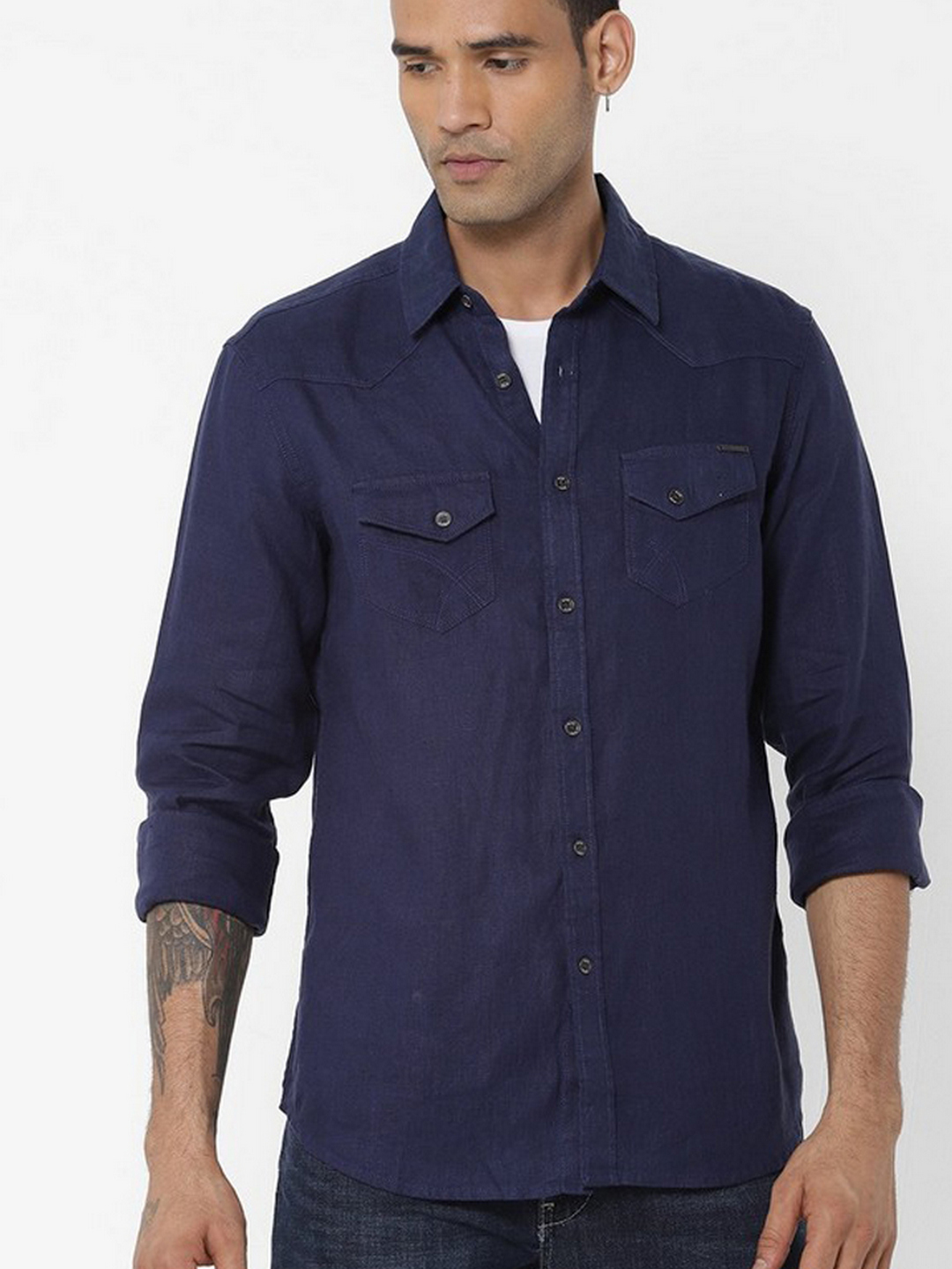 Men's Kant S/S blue linen shirt