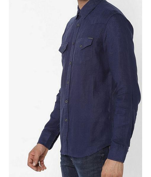Men's Kant S/S blue linen shirt