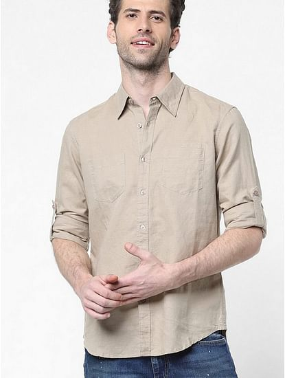 Men's Dab solid beige shirt
