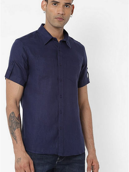 Men's Dab solid blue shirt