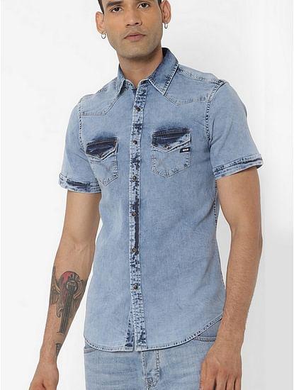 Men's Kant X blue denim chambray shirt