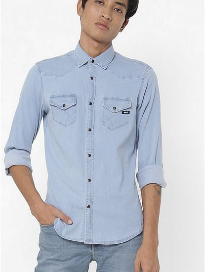 Men's Kant X solid blue denim shirt