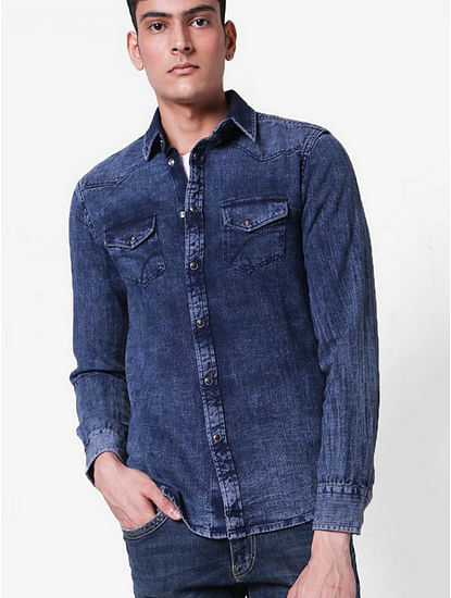 Men's Kant blue denim shirt
