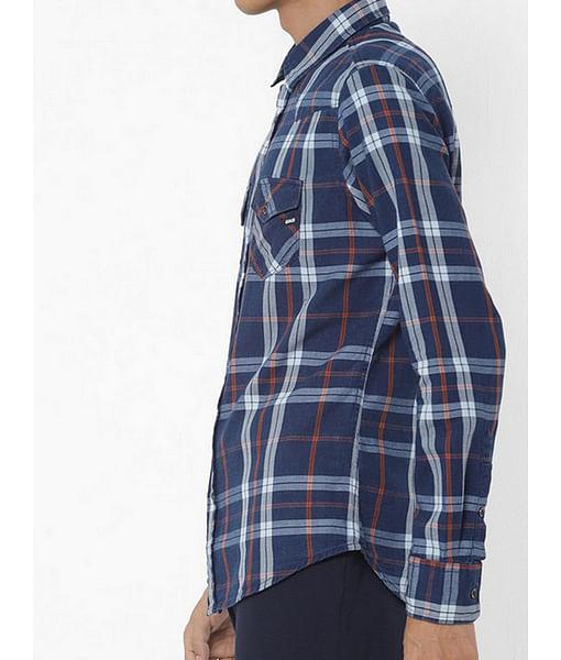Men's Kant blue checks shirt