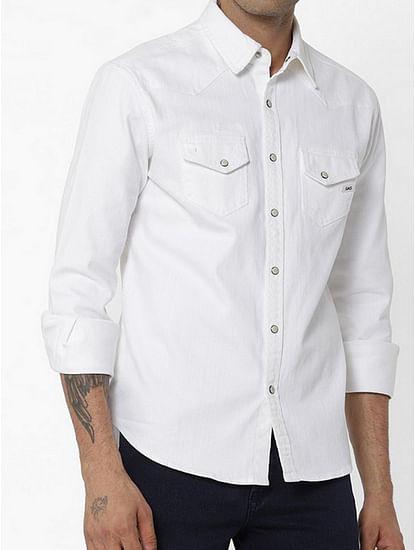 Men's Kant solid white denim shirt